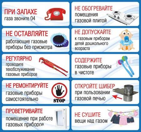 Памятка о мерах безопасности при использовании газа
